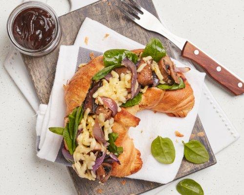 Roasted Mushroom Filled Croissant
