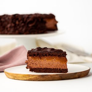Michel's Double Choc Caramel Fudge Cake